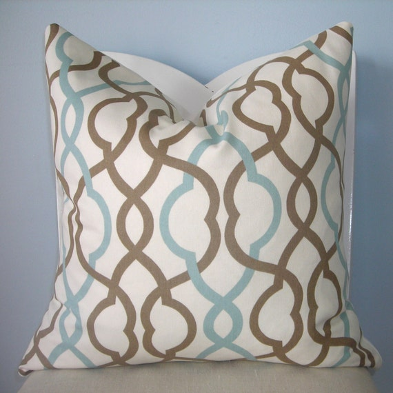 Blue and Brown Geometric Trellis Decorative Pillow Cover 24 x 24