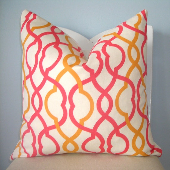 Coral and Orange Trellis Geometric Pillow Cover 18 x 18