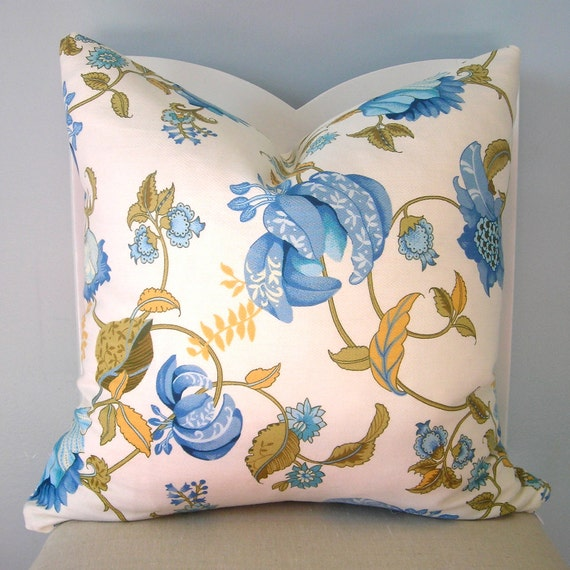 Items similar to Blue and Yellow on White Floral Decorative Pillow Cover 20x20 on Etsy
