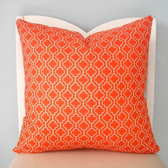Orange and White Moroccan Tile Pillow Cover 18 x 18
