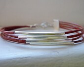 Red Leather and Silver Multi-Strand Bracelet