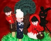 Little Red Riding Hood Finger Puppet Set. Hand Knitted by myself. Fun And Educational. Great Gift.