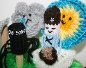 Little Miss Muffet Finger Puppet Set Hand Knitted