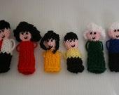 Six Family member finger puppet set. Hand knitted. Dad, mum, daughter, son, grandma, grandpa.