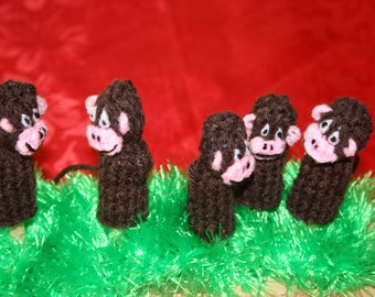 Five Monkey Finger Puppets. Hand Knitted.