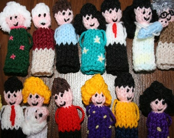10 x Random People Finger Puppets, hand knitted