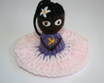 Sale~ Was 25Dollars Beautiful Hand Knitted Doll In Pink And Lilac Dress Made By Kirsty Wright.