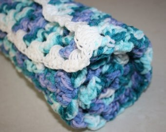 Beautiful Lilac Blue And White Crochet Cot Blanket Afghan For Baby Measures 72cm Square