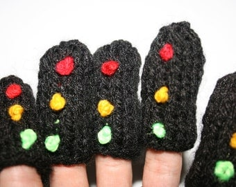Five Traffic Lights Finger Puppets, hand knitted.