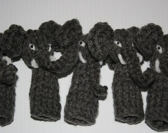 Five Grey Elephants Finger Puppets. Hand Knitted. School Teaching Resource. Rhyme.