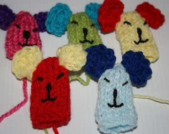 Five Colourful Mice Finger Puppets, hand knitted.