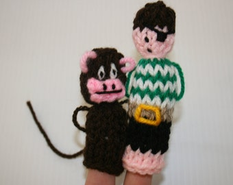 Pirate and Monkey Finger Puppets. Hand Knitted.