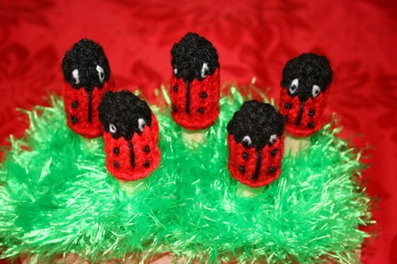 Five Lovely Ladybugs Finger Puppets