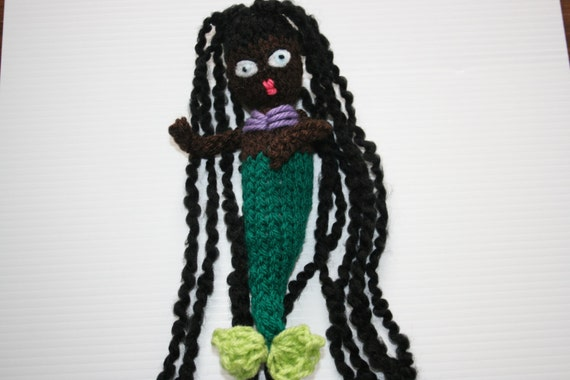 Hand Knitted Mermaid Doll With Black Hair And Blue Eyes, Soft Toy.