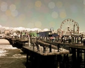 "8x10 photograph - ""Santa Monica Pier"" - fine art print - California - ferris wheel carnival - ocean - landscape art"