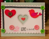 Valentines Card - Love is Sweet Greeting Card - Hand Made OOAK - size A2 glitter - Valentine's - Wedding - birds - pink