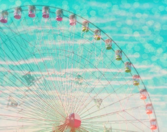 "Ferris Wheel Photograph - ""Sky Ride"" -  fine art print - vintage photography - ferris wheel carnival - children's art"