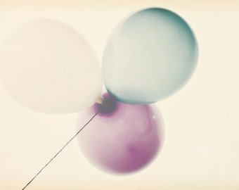 Pastel Balloons - 8x10 photograph - fine art print - floating pastel balloons - nursery art - wedding gift