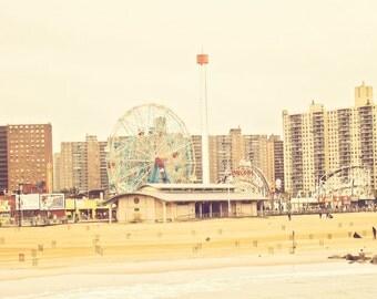 Coney Island - 8x10 photograph - Cyclone - Wonder Wheel - fine art print - vintage photography -Brooklyn New York