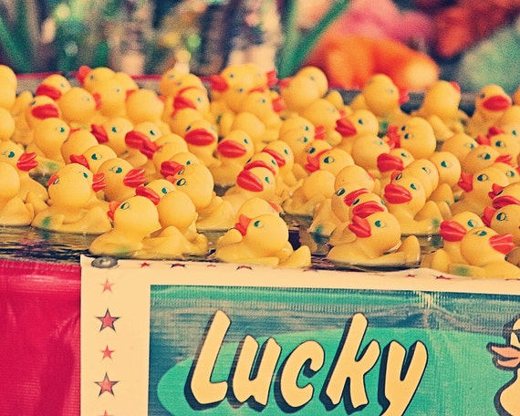 "Rubber Ducks - ""Lucky You"" - fine art print - rubber ducks - carnival art - vintage photography"