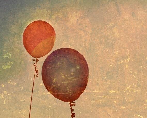 Balloon Art - Up, Up - 8x10 photograph - fine art print - balloons - children's art - vintage photography