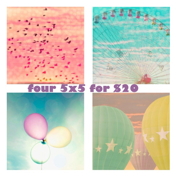 "Set of four 5x5 photographs  - ""Magical Day"" - Nursery art - Carnival art - fine art prints - pastel colors - children's art"