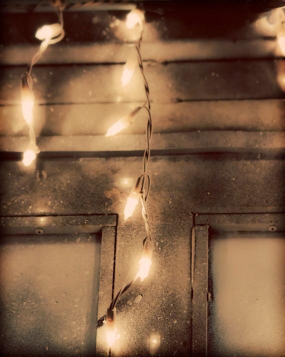 Hanging Christmas Lights - 8x10 photograph - fine art print - vintage christmas lights - neutrals