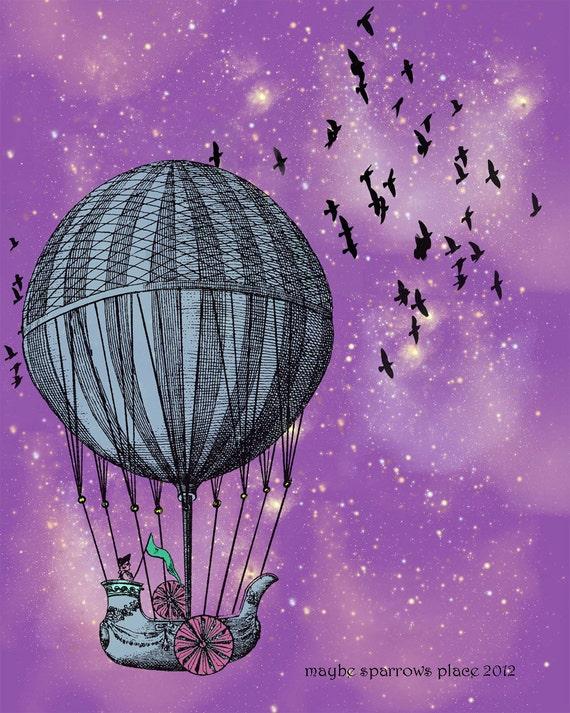 Purple Sky Hot Air Balloon Print - fine art print - 8x10 - dreamy night sky - colorful nursery art - birds - mixed media illustration