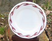 Set of 4 Pyrex Burgundy Red Flame Bread Plates -- Corning Tableware 6 3/4 inch
