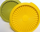 Vintage Tupperware '70s Harvest Gold Yellow & Avocado Green - Set of 2
