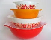 "4 Pc Vintage Pyrex ""Friendship"" Mixing Bowl Set, 444, 443, 442, 441 White, Red & Orange Birds and Flowers Cinderella Nesting"
