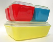 Vintage Pyrex Refrigerator Dishes Set 501 502 503 Primary Colors: Red, Blue & Yellow Rainbow Circus Colors