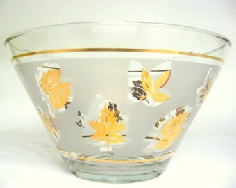 "Vintage Anchor Hocking Glass Serving Bowl ""Starlyte"" Mid-Century Gold Leaves Pattern Punch Dish"
