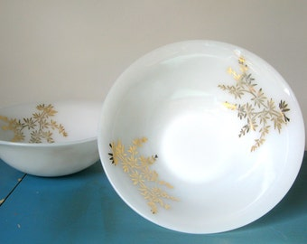 """Vintage Federal Glass """"Golden Glory"""" Serving Bowls, 1960's Set of 2 with Gold Bamboo Pattern"""