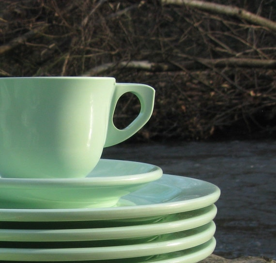 12-Pc. Mint Green Boontonware Dishes -- Service for 4 -- Boonton Ware Melmac Melamine Plates, Saucers, Tea Cups