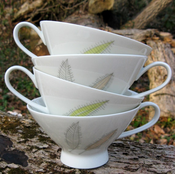 """8 Mid-Century Rosenthal China Cups -- Form 2000 """"Bunte Blatter"""" - Raymond Loewy Design """"Colorful Leaves"""""""