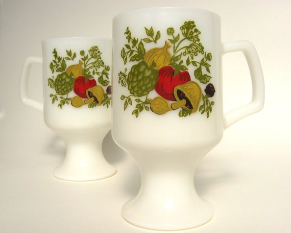 SALE -- Spice-O-Life Pedestal Mugs by Federal Glass, Tall White Milk Glass Footed Continental Cups