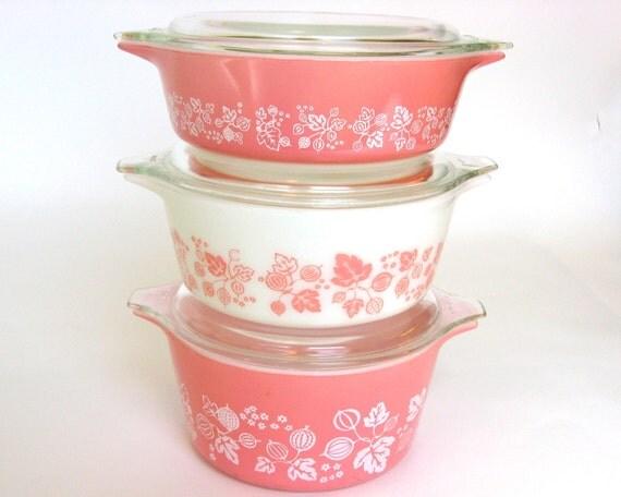 "Vintage Pink ""Gooseberry"" Pyrex 6-Pc Casserole Set and Lids, Nesting Bowls Wedding Bridal Shower Gift"