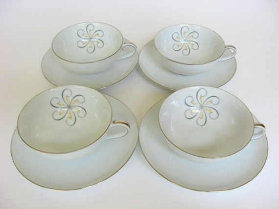 "40-Pc Mid-Century Dinnerware Set for 8, Wentworth  ""Rhapsody"" China, Atomic Pattern Eterna Shape Dishes, 20 Pieces, Made in Japan 7539"