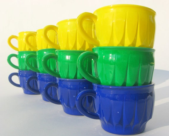 Set of 12 Vintage Milk Glass Mugs, New Old Stock in Original Box, Blue, Yellow & Green New Old Stock NOS