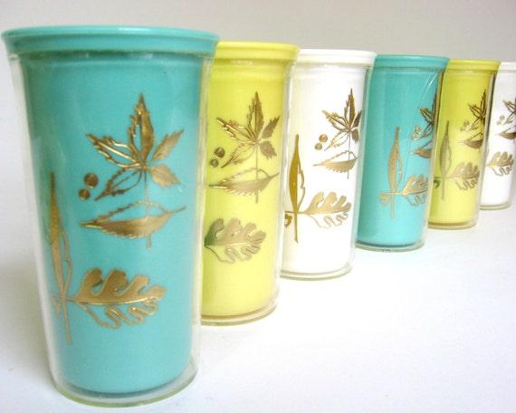 Vintage Burrite Plastic Tumblers 1950's Set of 6 Aqua, Yellow & White Cups with Retro Gold Leaf Design