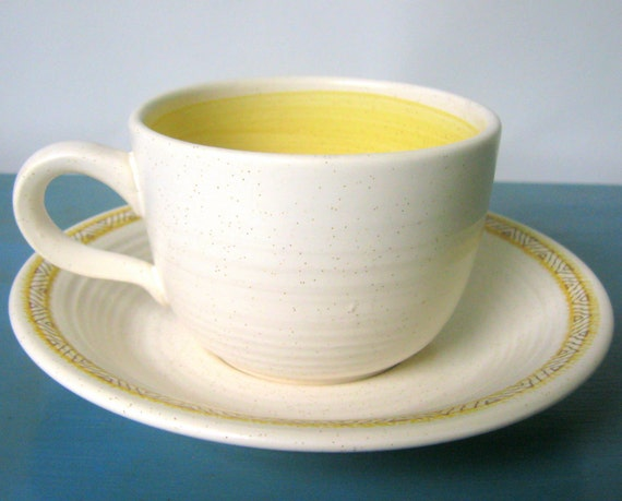 Franciscan Hacienda Gold Cups & Saucers -10 Pieces- 1970's Dinnerware Dishes Earthenware