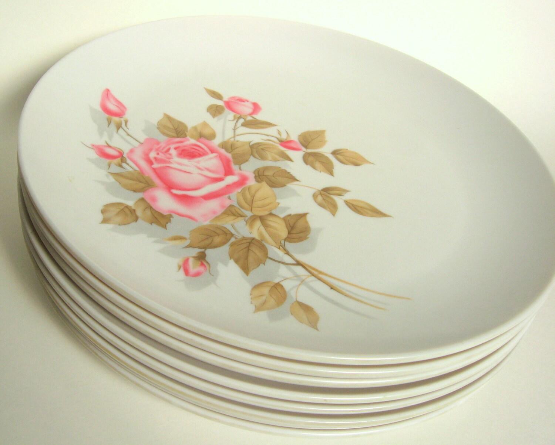 Vintage Boontonware Pink Rose Dishes 8 Somerset Melamine