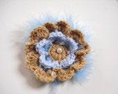 Powder Blue, Brown Crochet Brooch
