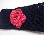 Dark Pink and Dark Blue  Crocheted Headband/Earwarmer with Flower