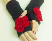 Romantic Black Gloves Crochet Mittens Handmade gloves Winter Accessories Crochet Gloves Winter Gloves Gift ideas For Her Gloves