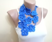 Crochet Scarf Floral Scarf Women Spring Accessories Handmade Floral Scarves Necklaces Mothers day gifts Blue Scarf For Her Gifs