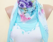 beaded lace, pink and blue triangle scarf,stylish accessory,thin scarf, women fashion