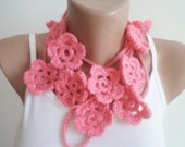 Crochet Scarf, Floral Scarf, Scarf, Fashion Scarf, Mothers day gifs, Spring Accessories, women accessories, pink scarf,