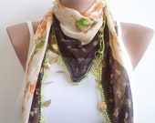 Women scarf, Women accessories, beaded lace, brown, cream scarf,stylish accessory,thin scarf, women fashion. spring trend.